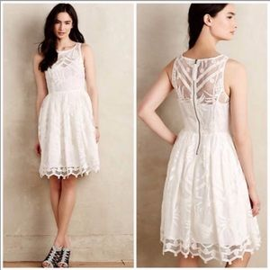 Maeve, Anthropologie white pina lace dress size 10